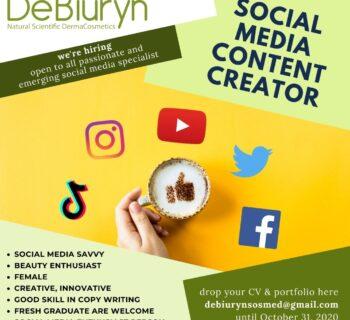 We're Hiring Social Media Content Creator