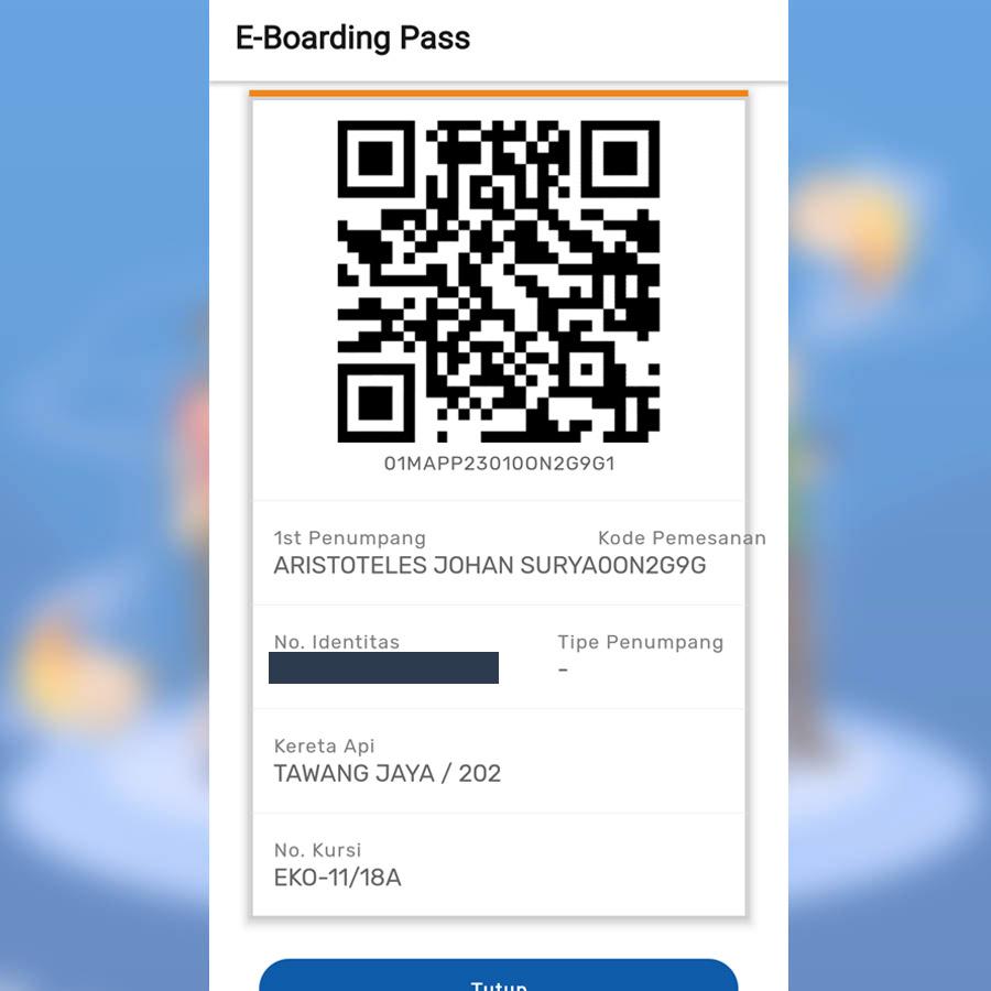 E-Boarding Pass Tiket Online Kereta Api Indonesia