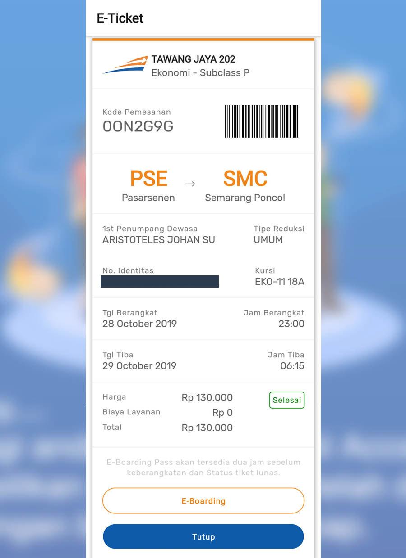 e-ticket pesanan kereta api indonesia