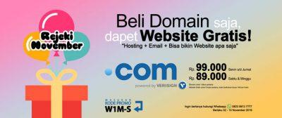 Rejeki November - Beli Domain Dapet Website Gratis