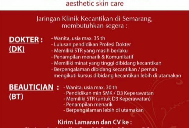 Lowongan Kerja Charisma Aesthetic Skin Care - Semarang