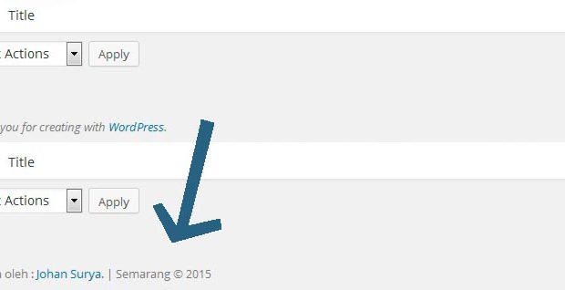 Memodifikasi Footer di Dashboard Wordpress