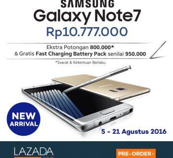 5-21 Agustus 2016 - Pre-Order Samsung Galaxy Note 7